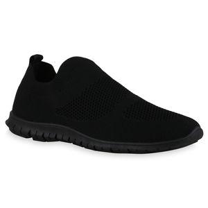 Giralin Damen Sportschuhe Slip Ons Bequeme Strick Profil-Sohle Schuhe 836327, Farbe: Schwarz, Größe: 39