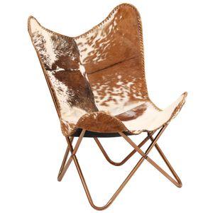 Vintage Butterfly Sessel Echtes Ziegenleder Braun und Weiß Schmetterlingsstuhl Relaxsessel, VD12322_DE