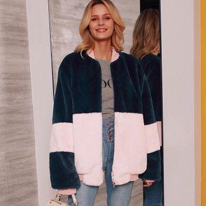 Mode Frauen Fleece Jacke Farbblock Langarm Reissverschluss Vorne Winter Lose Mantel Strickjacke Oberbekleidung Rosa3XL