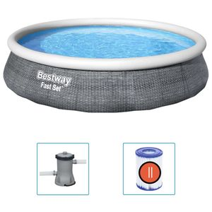 Bestway Fast Set Aufblasbares Pool-Set mit Pumpe 396x84 cm