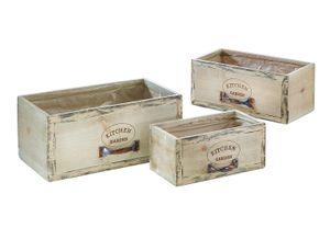 Schublade zum Bepflanzen aus Holz mit Folie ausgeschlagen S/3