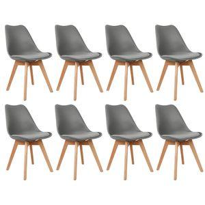 8er Set Design Esszimmerstuhl | Kunstleder Dunkelgrau Küche Esszimmer
