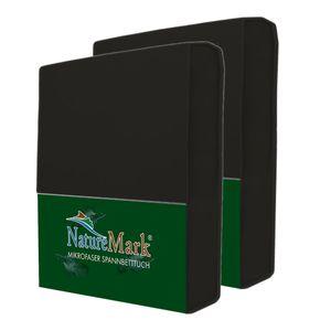 NatureMark 2er Pack MICROFASER Spannbettlaken  | 90 x 200 cm - 100 x 200 cm - schwarz