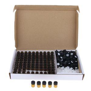 100 STÜCKE Braunglas ätherisches Öl Flasche mit Mundstück Reduzierer schwarze Kappen 2ml