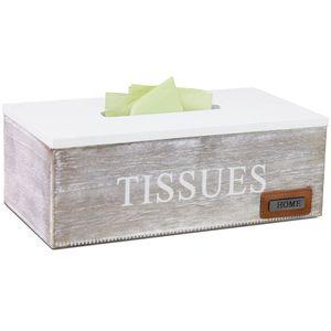 Kosmetiktücherbox Tissues mit Klappdeckel 25x14x9cm Weiß/Braun