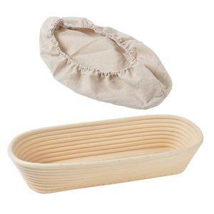 CANDeal 35 cm Oval Gärkörbchen mit Leineneinsatz – Der ideale Gärkorb für Brotteig aus natürlichem Peddigrohr