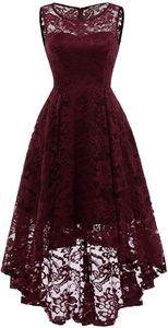 Elegante Abendkleider Cocktailkleider Damenkleider Brautjungfernkleider aus Spitzen Knielange Rockabilly Ballkleid Rund Ausschnitt XL