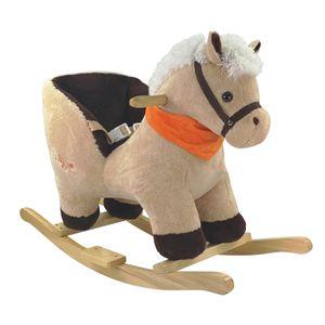 Bieco Plüsch Schaukeltier Pferd 73,5x33,5x53cm   Schaukelpferd Baby   Schaukeltier Baby   Kinderschaukel Indoor   Baby Wippe   Baby Schaukel   Schaukelpferd ab 1 Jahr   Baby Spielzeug ab 9 Monate
