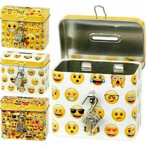 GKA Metallspardose Emoji Spardose Geldkassette Sparbüchse Metall mit Schlüssel und Schloss