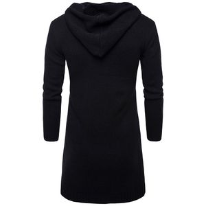 Herren Slim Fit Kapuzenstrickpullover Mode Strickjacke Lange Trenchcoat Jacke Größe:XL,Farbe:Schwarz