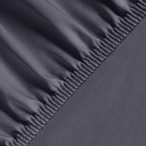 Feinste Mako-Satin Spannbettlaken, 100% Reine Ägyptische Merzerisierte Baumwolle - Anthrazit 120x200+20 cm