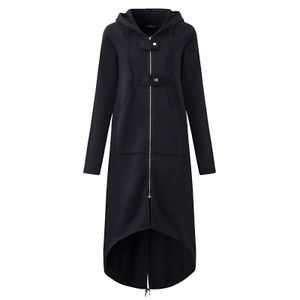 Damen Übergangsjacke Mantel mit Kapuze Jacke Warm Jacken Winterjacken Größe: L, Farbe: Schwarz