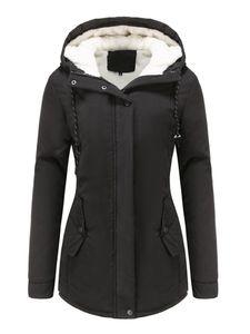 Damen Winter Kapuze warme lässige Baumwolljacke,Farbe: schwarz,Größe:L