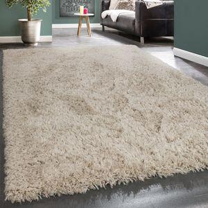Hochflor Teppich Kuschelig Modern Shaggy Flokati Stil Gemütlich Uni In Beige, Grösse:160x230 cm