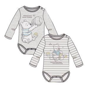 2er Set Disney Baby Jungen Body Winnie Pooh Langarmbody Strampler 100% Baumwolle, Größe:68-74