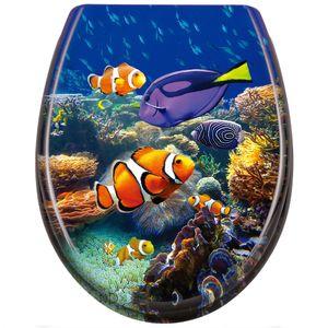 EINFEBEN WC Sitz Premium Toilettendeckel mit Absenkautomatik,Deckel aus Duroplast,Toilettensitz in verschiedenen Motiven(Anemonenfisch)¡