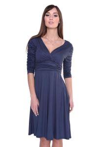 Kleid Knielang mit Raffungen Wickeloptik, V-Ausschnitt + MAMA Umstandsmode, 8199 Grafit 2XL/3XL 44/46
