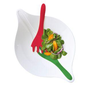 Koziol Salatschale 3 L mit Besteck Schüssel Salat Schale Weiß Rot Grün Leaf L+
