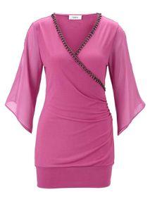 HEINE Damen Jersey-Longshirt mit Strass, himbeere, Größe:34