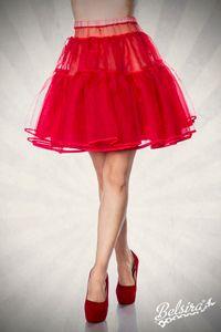 Petticoat / Rock / Unterrock / Volantrock in rot Größe XS bis L = 34 bis 40