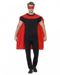 Preiser, roter Umhang mit Augenmaske als Kostümzubehör