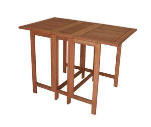 DEGAMO Balkontisch Doppel Klappentisch Gartentisch 107x65x74cm rechteckig, Eukalyptus Holz geölt