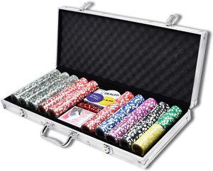 LZQ Pokerset mit hochwertigen Chips Laser Pokerchips Poker inkl. 2X Pokerdecks, 5X Würfel, 1x Dealer Button, 2 Schlüssel, Aluminium-Gehäuse - Silber