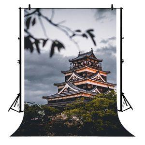 ECZJNT 150x220 cm Tempel Landmark japanisches chinesisches Gebäude traditioneller Polyester-Foto-Hintergrund-Porträt-Hintergrund
