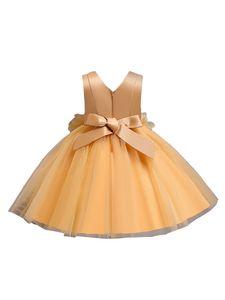 Weibliche Baby-Blumen-Tutu Formale Hochzeit Prinzessin Brautjungfer Prinzessin Kleid,Farbe:Gelb,Größe:100(2-3T)