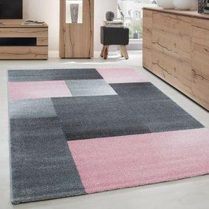 Wohnzimmerteppich Kurzflor Teppich Design Rechteck Karo Muster Grau Pink Meliert, Grösse:160x230 cm