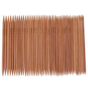 55 x Doppelseitige Stricknadeln Bambus Nadelspiel Bambusstricknadeln Set in 11 Größen, Stricken Handwerk Set