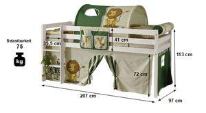 Hochbett Aron 90*200 cm Kiefer massiv weiß +  Kinderzimmer Spiel Holz Stockbett