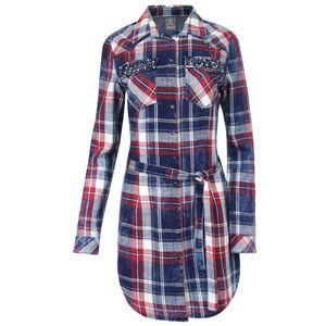 KEY LARGO Damen Blusenkleid, Farbe:blue-red, Größe:S