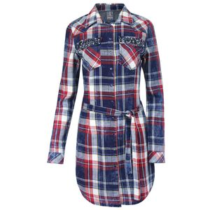 KEY LARGO Damen Blusenkleid, Farbe:blue-red, Größe:L