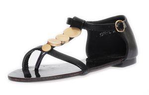 Damen Sandalen mit Metall-Applikationen Zehentrenner , Schwarz 37