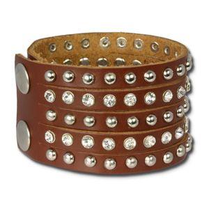 SilberDream Armband -gegerbtes Rindsleder- braun Zirkonia Damen Frauen LAP231B
