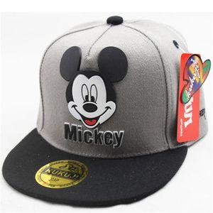 1x Kinder Grau Mickey Mouse Baseball Cap Hut Einstellbar Snapback Sonnenhut Sport Kappe Hüte Schirmmütze Baumwolle