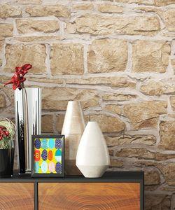 Steintapete Ziegelstein Beige Papier Natur Stein Modern Loft Industrial Mauer Stein  Ocalian