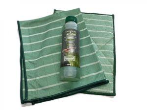 Bambus-Kristall 3er Hygiene-Set PREMIUM - 1 Poliertuch & 1 Wischtuch + Reiniger 1000ml