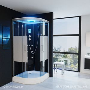 TroniTechnik Duschtempel Fertigdusche Duschkabine Dusche Glasdusche Eckdusche Komplettdusche S100XD1HG01 100x100