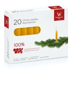 Baumkerzen 100 % Bienenwachs, 100 x 13 mm, 20 Stück, Wiedemann Kerzen, Qualitätskerzen, rußarm, tropffrei