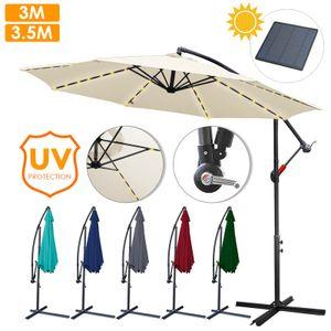 Wolketon 3m-3.5m Sonnenschirm Neigbar Ampelschirm Balkonschirm Marktschirm UV40+ Gartenschirm,Grau,3.5m