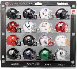 16 teiliges NFL Helm Riddell Pocket Mini AFC Set 2020 Footballhelm Helmet