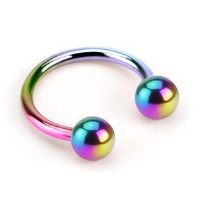 viva-adorno 1,2 x 8 x 3mm Hufeisen Piercing Edelstahl Lippenpiercing Augenbrauenpiercing Z54,Regenbogen