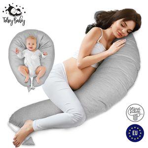 Stillkissen Schwangerschaftskissen zum Schlafen Pregnancy Pillow Seitenschläferkissen Lagerungskissen für Baby Grau mit weißen Tupfen