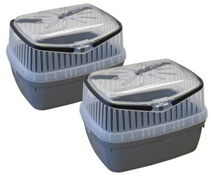 2er Sparpack Transportbox für Kleintiere wie Hamster, Meerschweinchen, Kaninchen usw. 2 x Grau