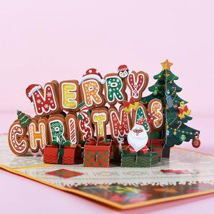 3D Pop-Up Frohes neues Jahr Karten Weihnachtsgrußkarten Weihnachtskarten Glückwunschkarten