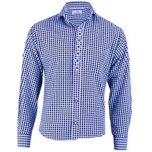 Trachtenhemd mit Edelweiß-Stickerei Blau/karo 100% Baumwolle, Größe:L