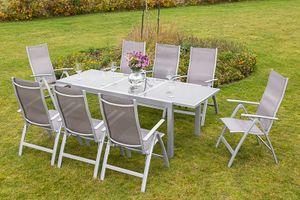 Merxx 9tlg. Carrara Gartenmöbelset diamantbraun - 8 Sessel, 1 Tisch - Farbe: diamantbraun - Maße: Sessel: 70x60x108 Tisch: 160/220x90x75; 8x 26374-330 +  1x 26452-219