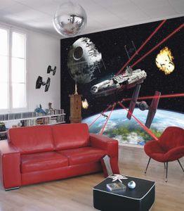 "Komar Fototapete ""Star Wars Millennium Falcon"", schwarz/rot, Millennium Falke, Galaxien , 368 x 254 cm"